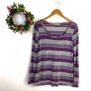 ❤️3/$25 Maurices Women's Purple Striped Long Tee
